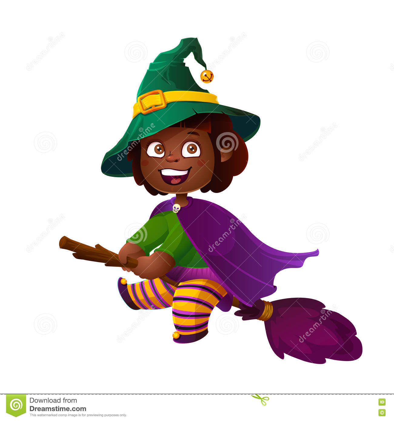 Cute African American Girl Witch On The Broom  Happy