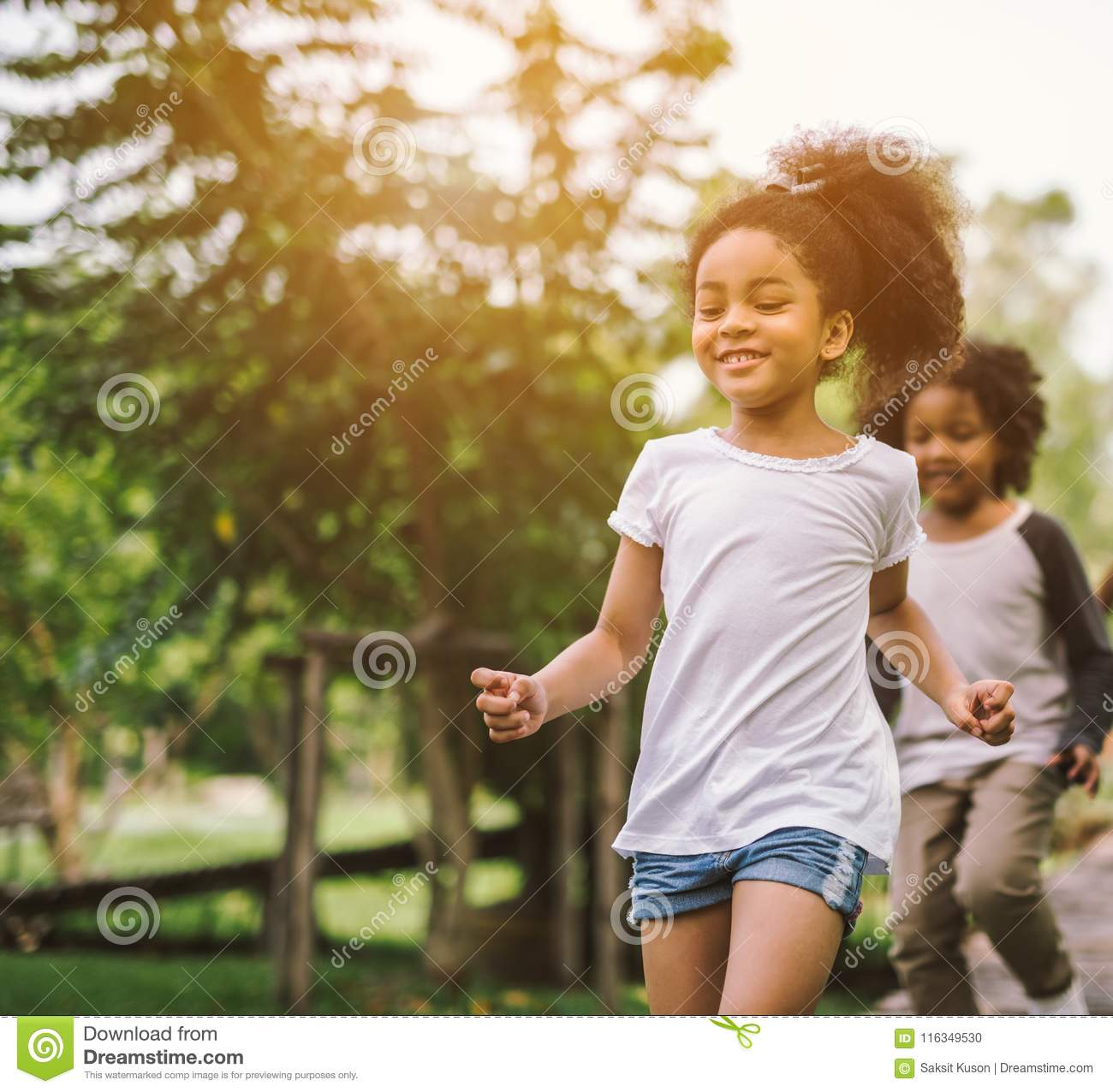 Cute african american little girl playing