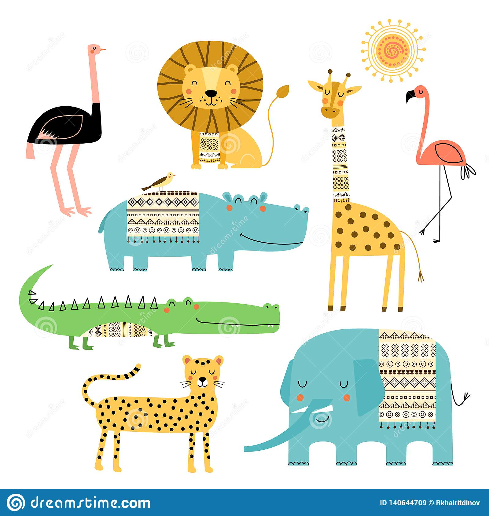 Cute African animals. Vector set of children`s drawings. Traditional ornaments, ethnic and tribal motifs. Doodle style.
