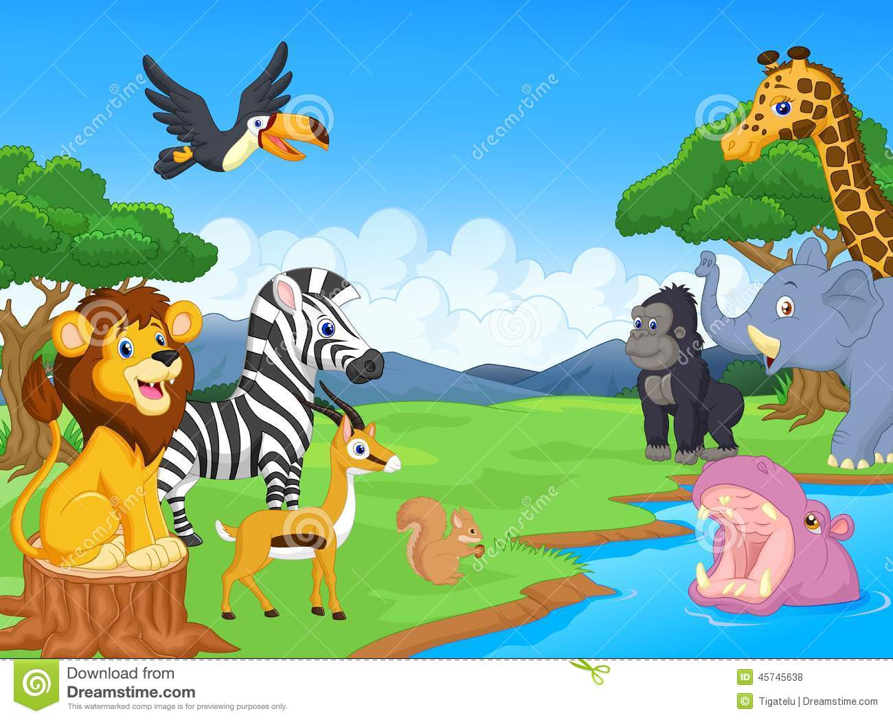 cute african safari animal cartoon characters scene stock clipart jungle animal masks clipart jungle animal masks