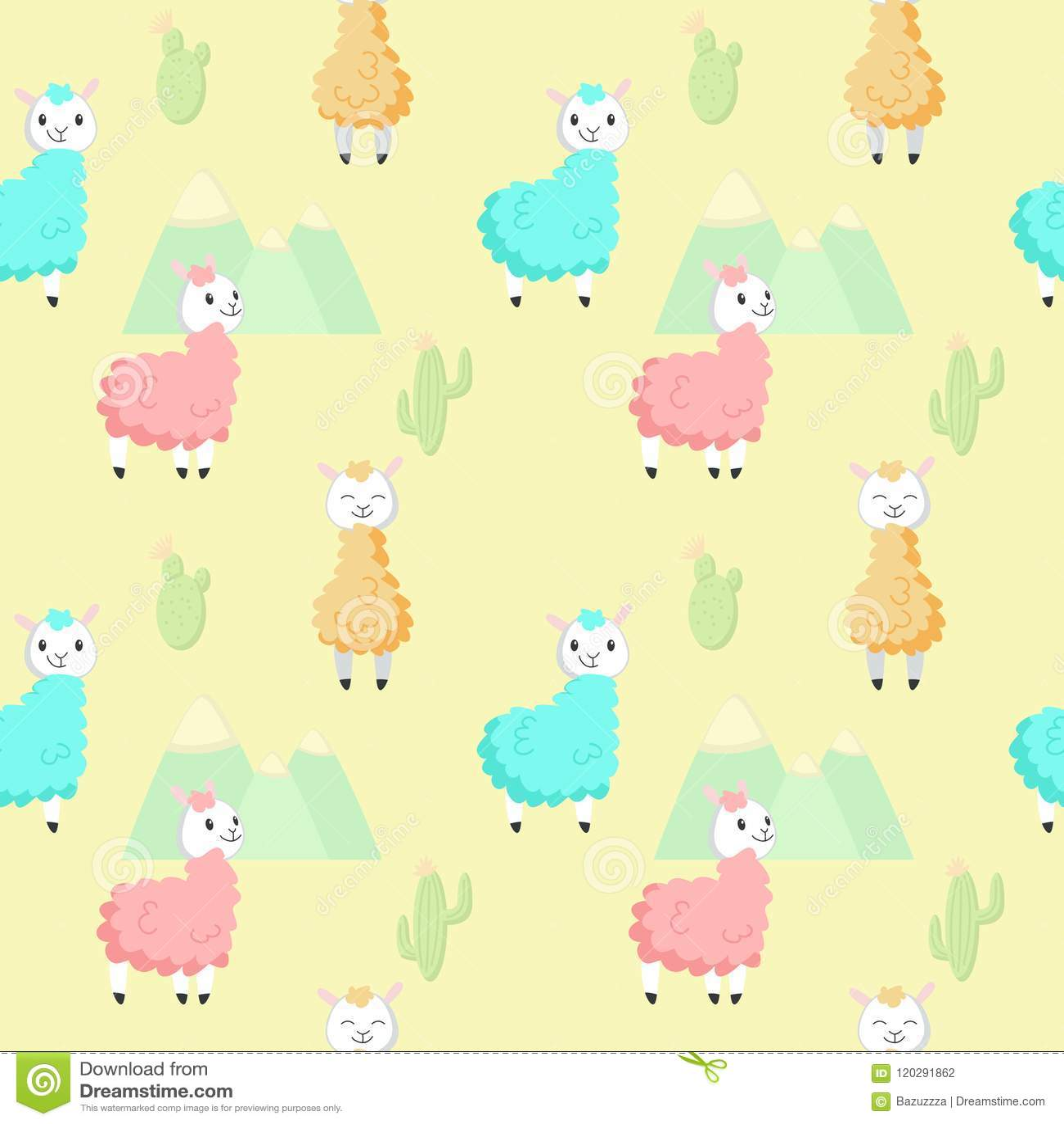 Cute Alpaca With Cactus Vector Seamless Pattern Stock Vector