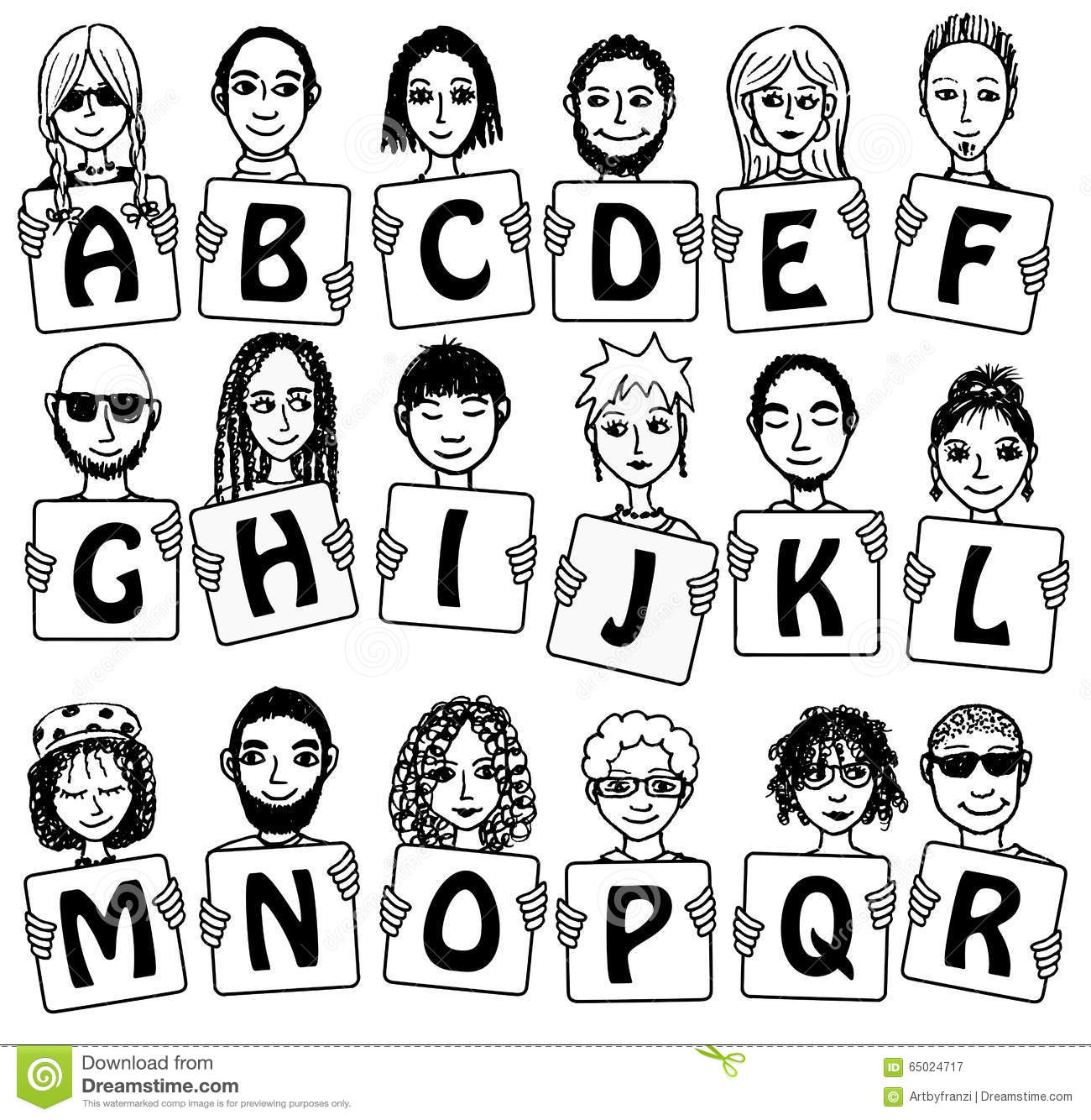 Cute Alphabet With Hand Drawn Faces Stock Vector Illustration Of