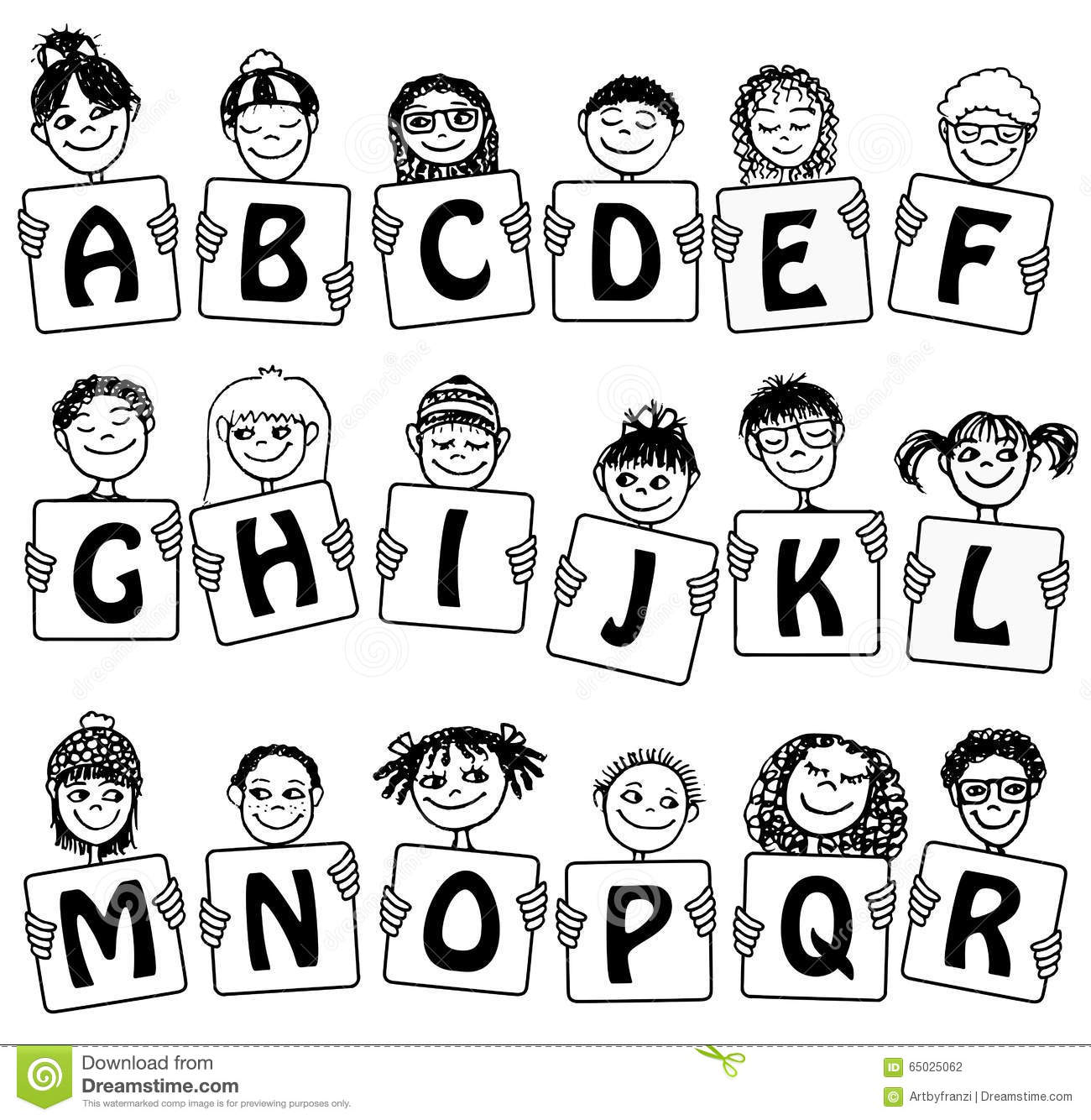 Cute Alphabet And Numbers With Hand Drawn Kids Faces Stock Vector