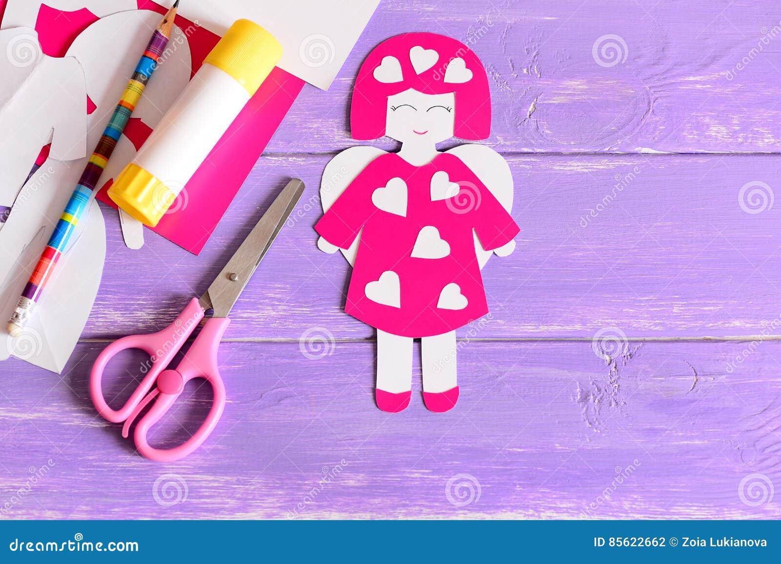Cute Angel Crafts From Paper Scissors Glue Stick Cardboard Sheets