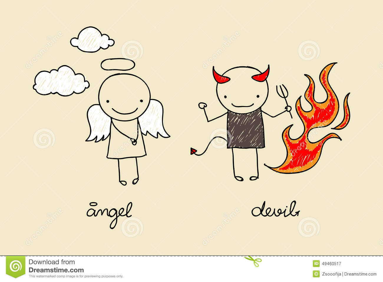 cute picture ideas for christmas cards - Cute Angel And Devil Doodle Stock Vector Image
