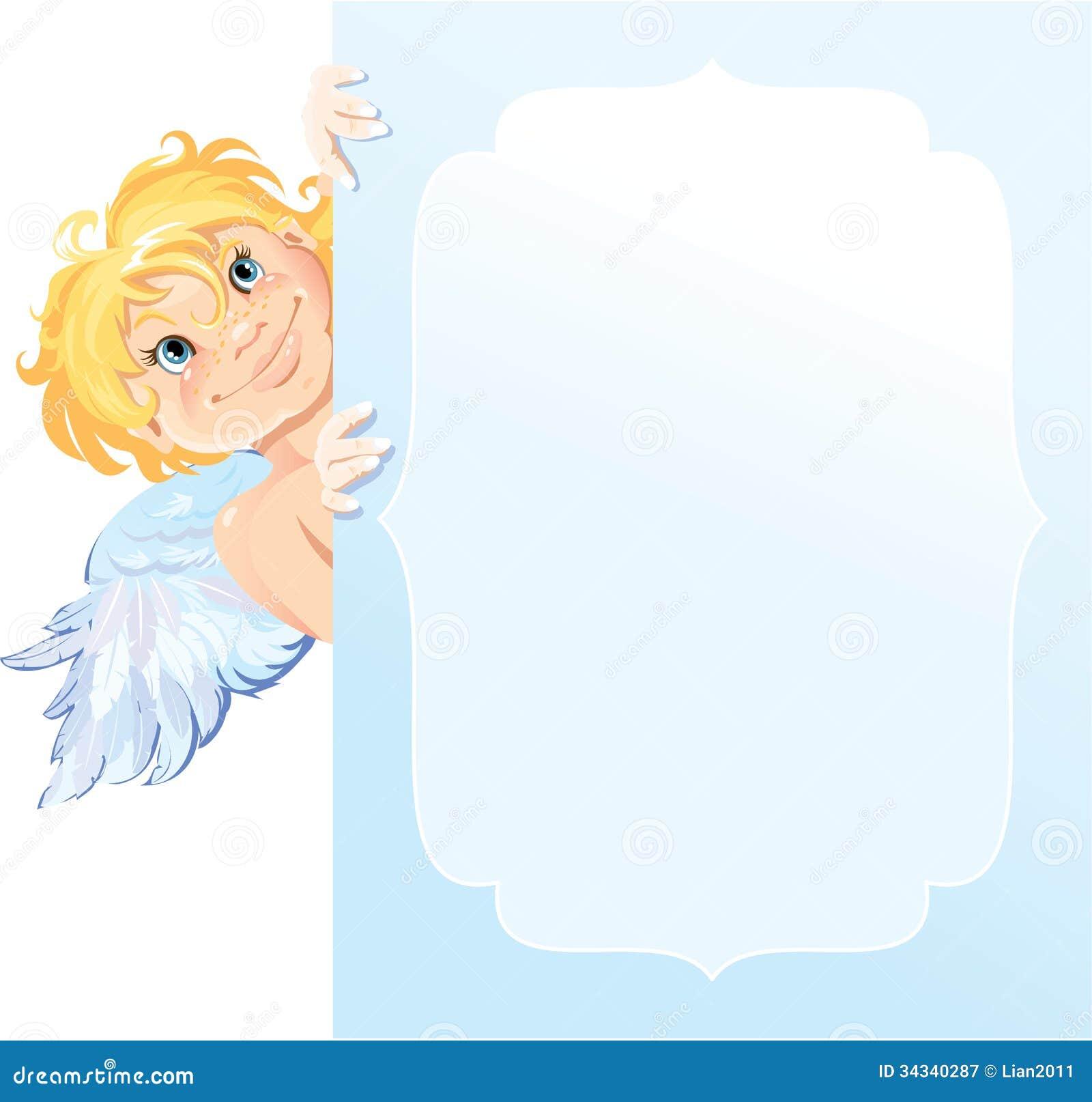 Cute Angel Peeking Round From Behind Frame. Valen Royalty ...