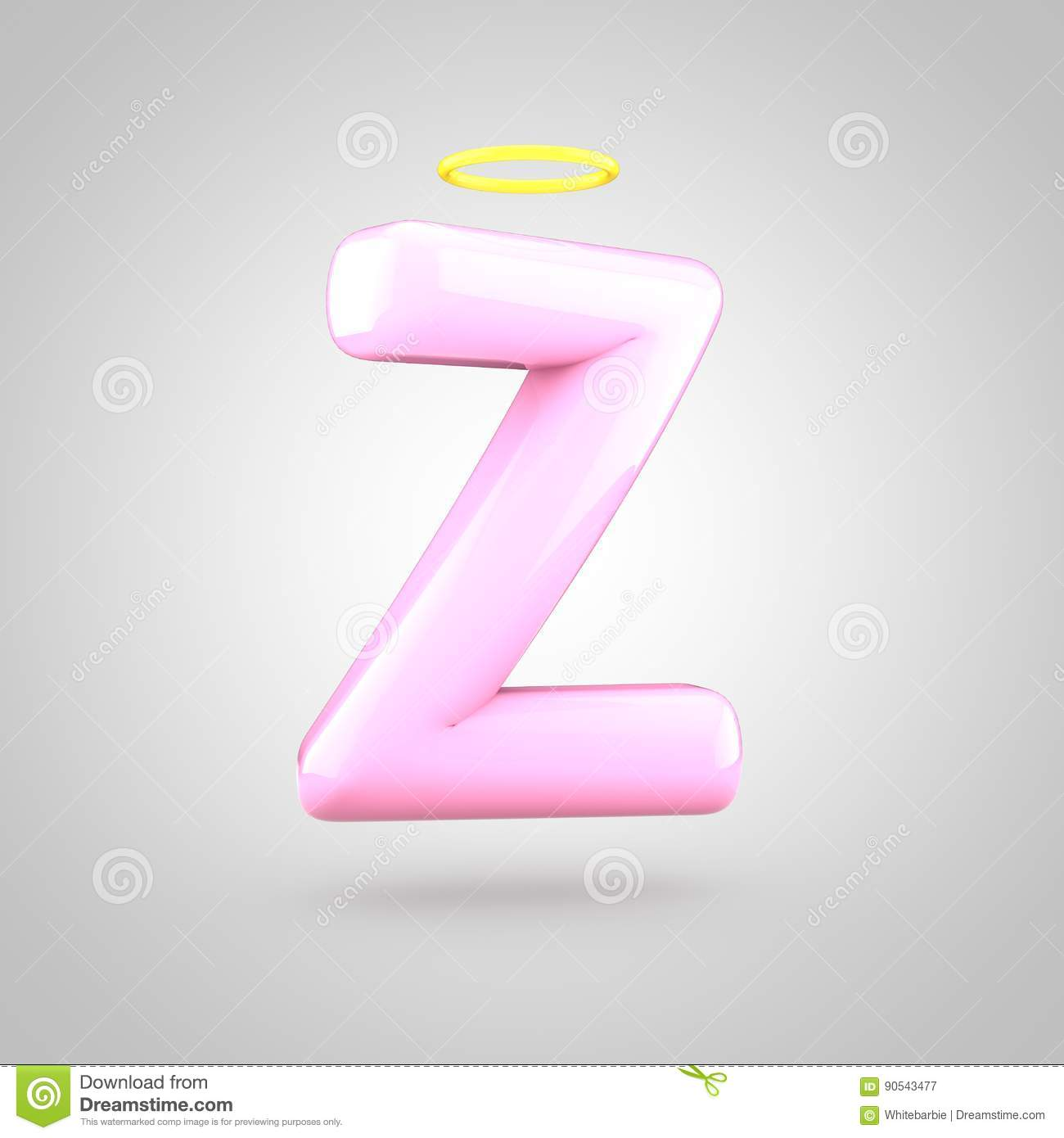 Cute Angelic Pink Letter Z Uppercase With Halo Stock Illustration