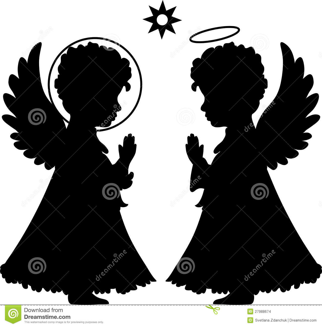 Cute angels silhouettes set catholic, orthodox set with star.