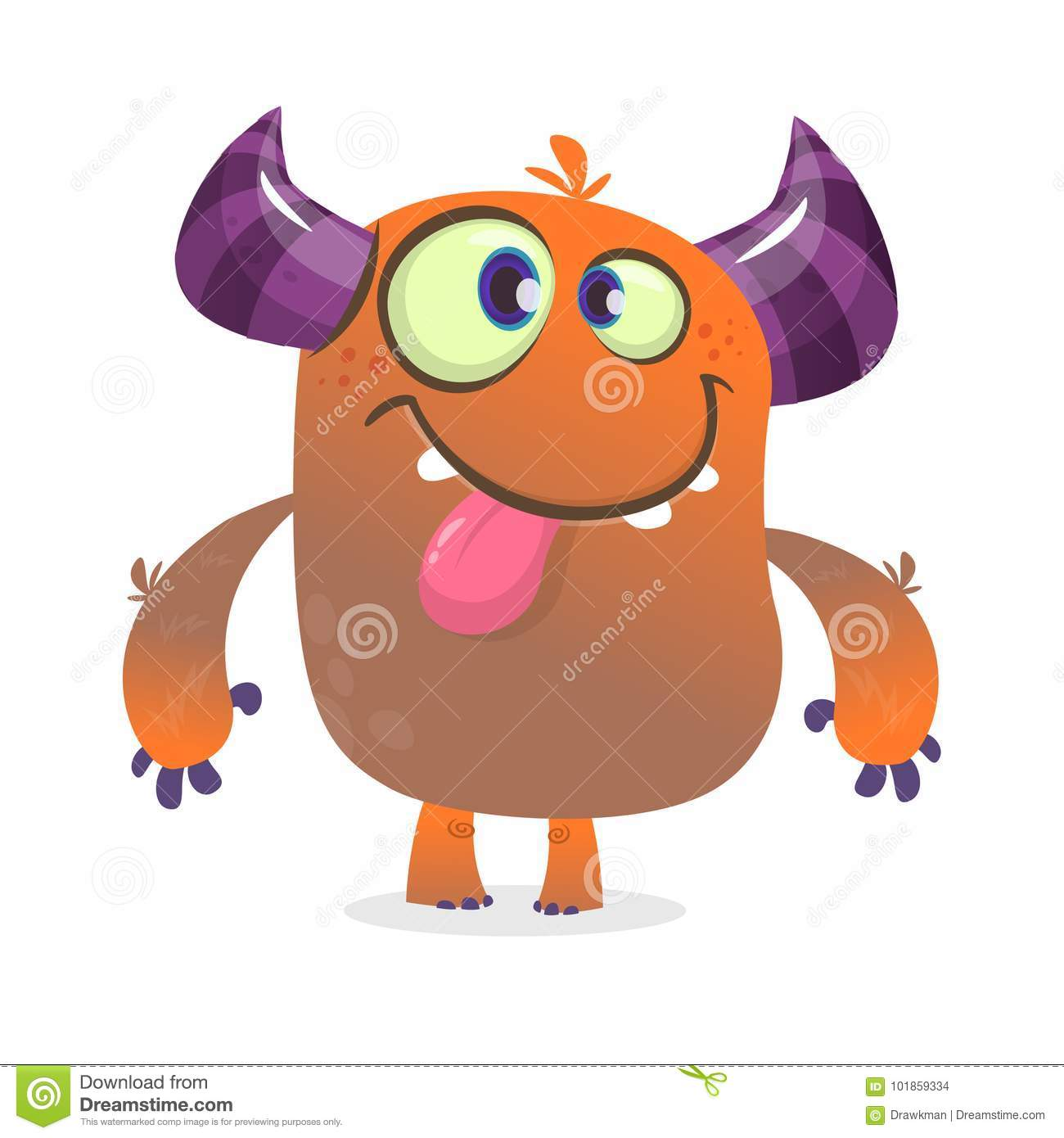 cute angry cartoon monster. vector furry orange monster character