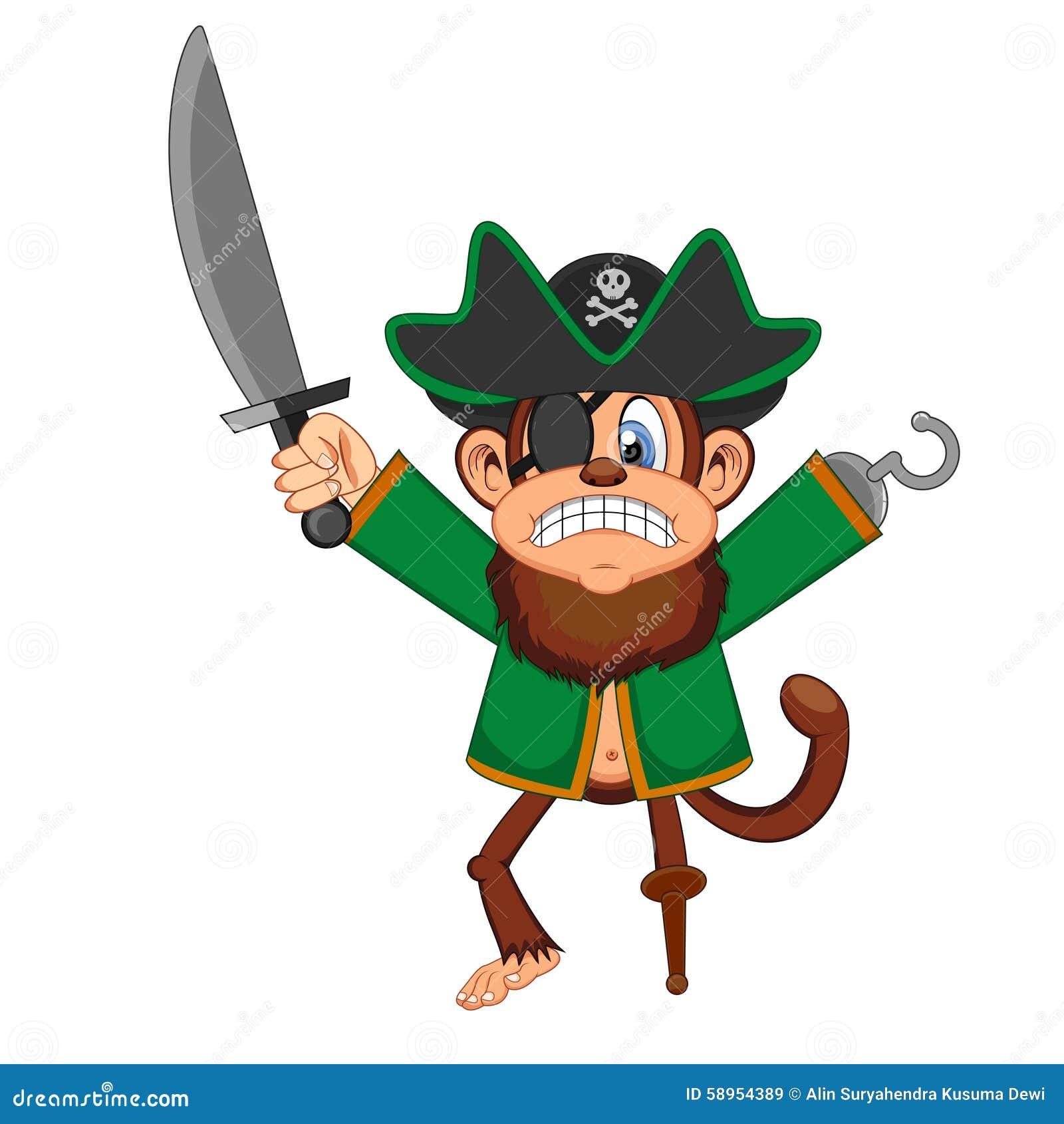 Monkey Pirate Cartoon Clipart Vector - FriendlyStock   Cartoon clip art, Pirate  cartoon, Cartoon