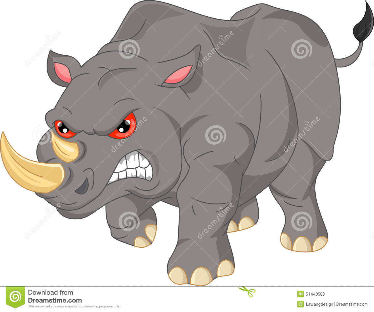 Download Cute Angry Rhino Cartoon Stock Vector Illustration Of Standing