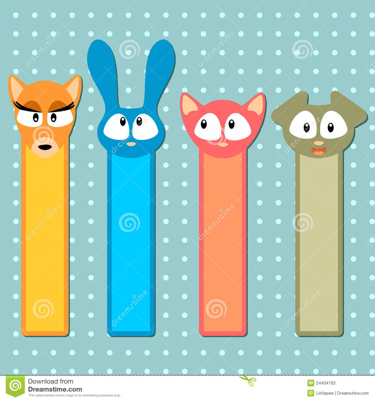 Cute Animal Bookmarks Colouring Pages page 3