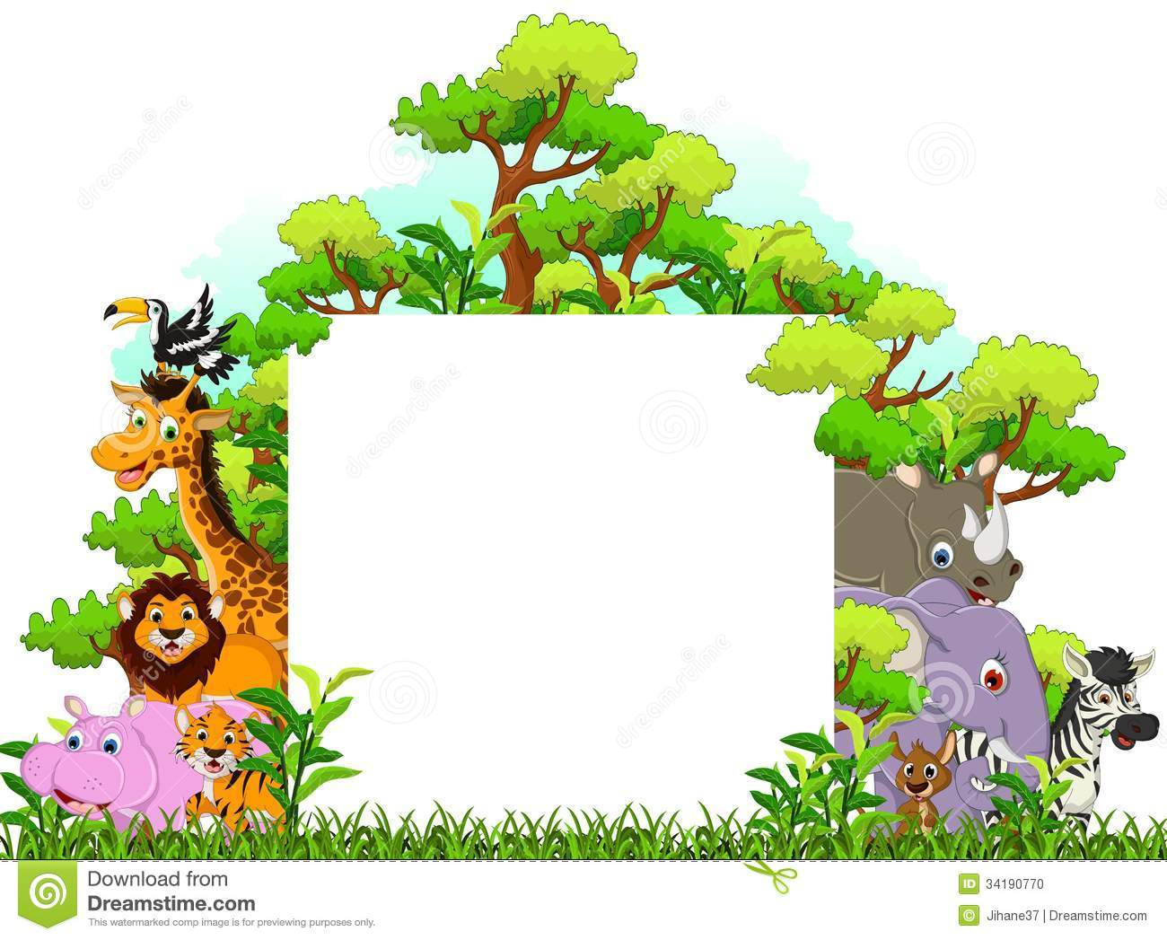 Cute Animal Cartoon With Blank Sign And Tropical Forest Background ...