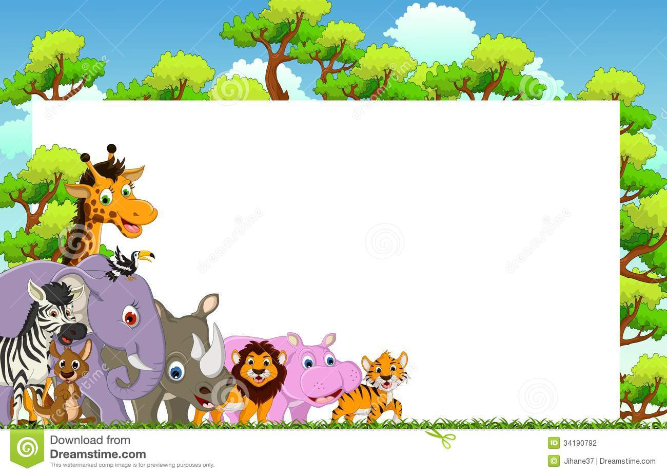 cute animal cartoon with blank sign and tropical forest mountain lion clip art free mountain lion black and white clipart