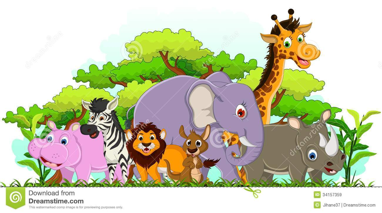 cute animal cartoon with tropical forest background royalty free