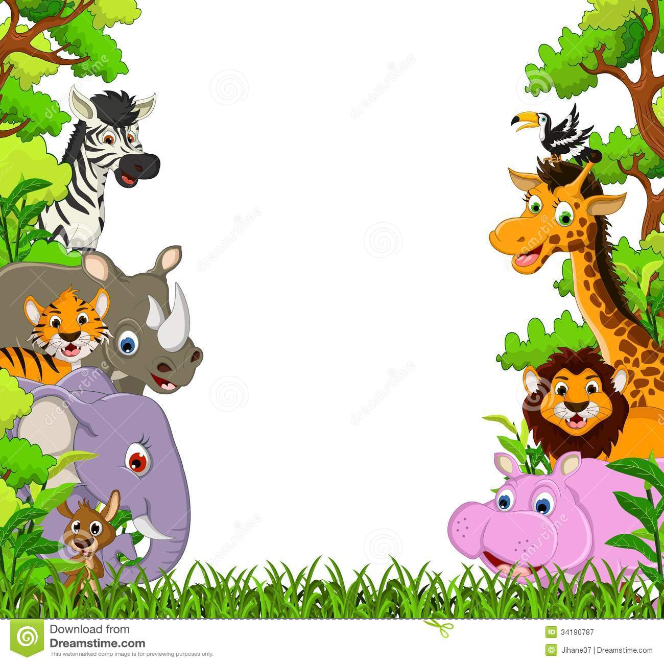 cute animal cartoon with tropical forest background stock