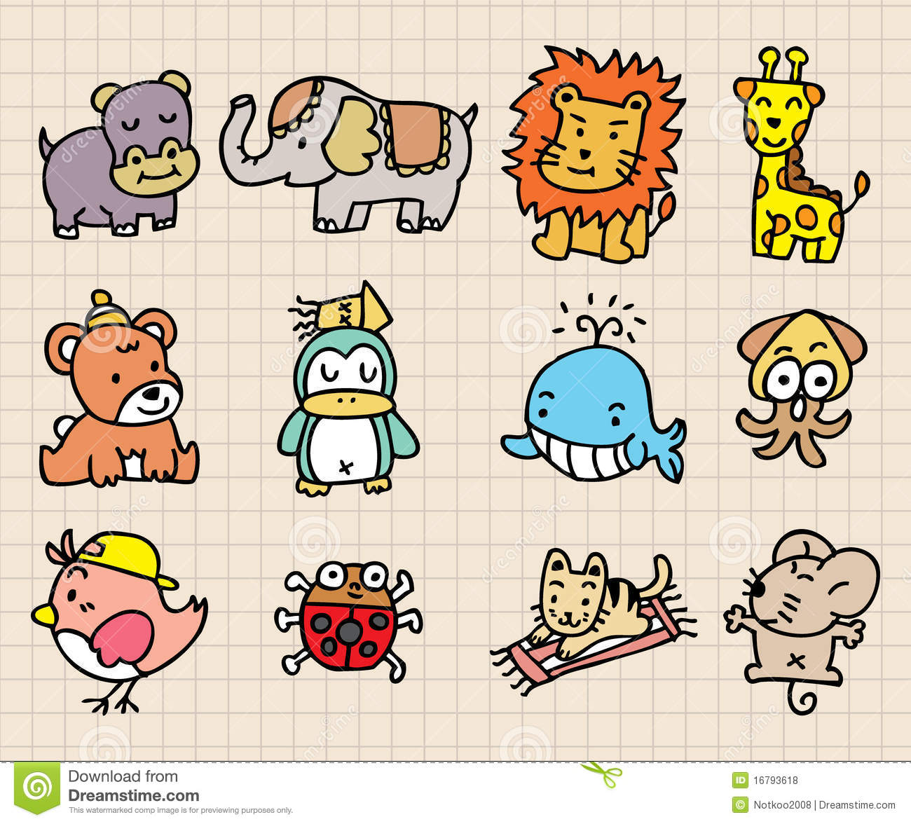 Cute Animal Element Hand Draw Icon Royalty Free Stock Photos Image 16793618