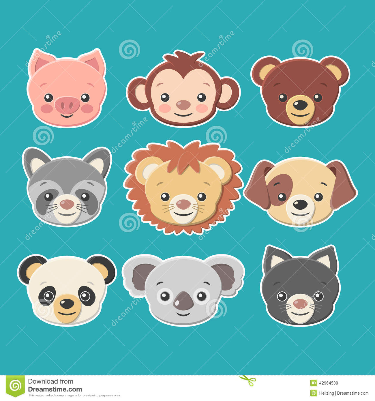 Cute animal faces stickers set vector eps8 stock vector for Autocolant mural