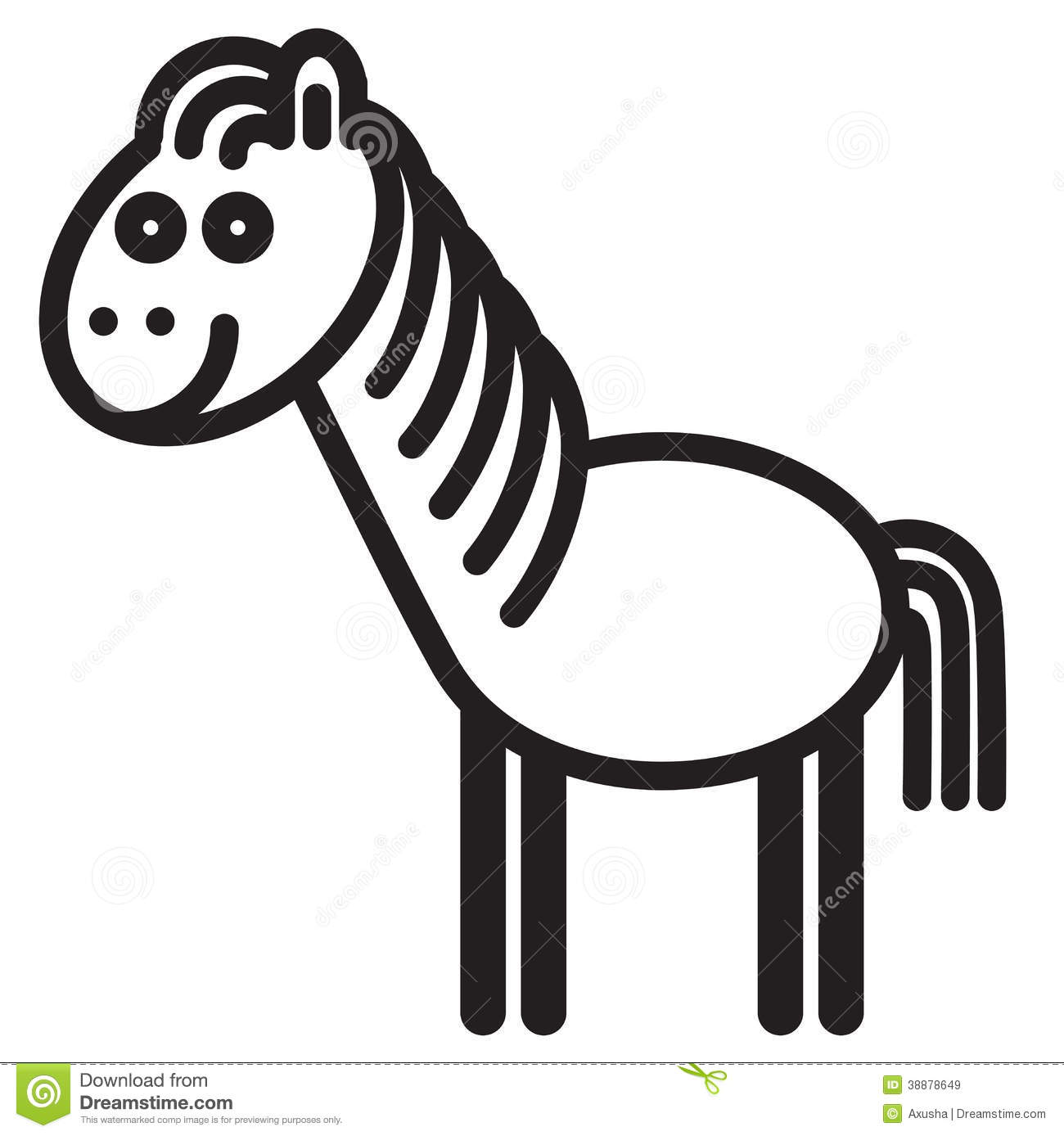 Cute Animal Horse Illustration Stock Vector Image