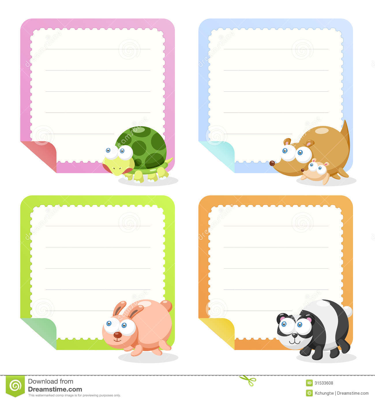 Cute Animal Note Papers Collection Royalty Free Stock Photos - Image ...