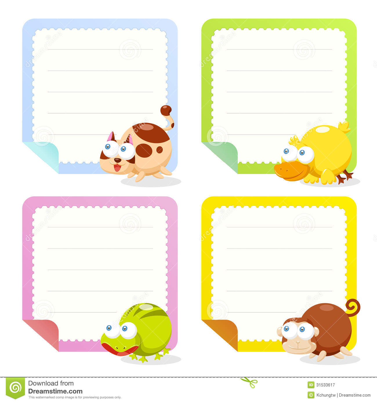 Cute Animal Note Papers Collection. Group, Clip.  Collection Note