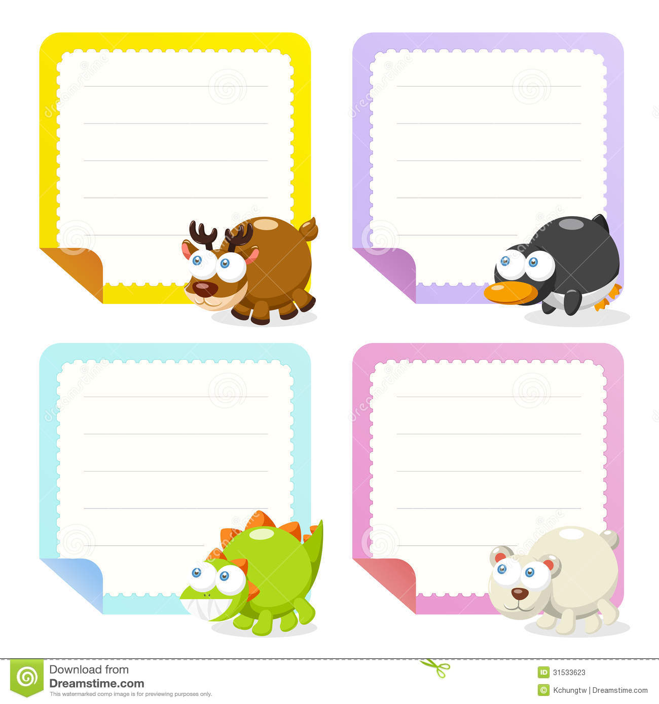 Cute Animal Note Papers Collection Stock Photos Image