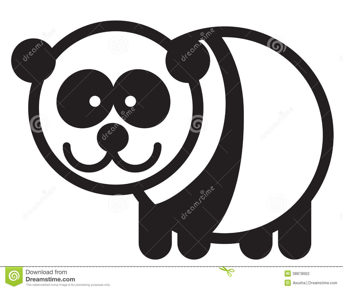 Cute simple black and white panda for logo.