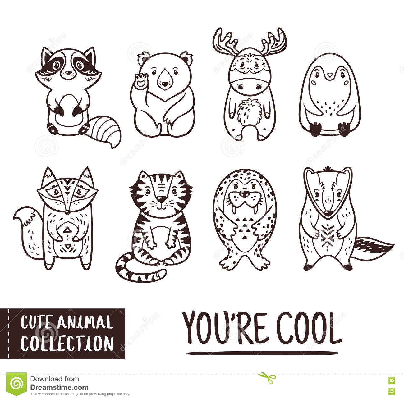 cute animal set with cartoon characters outline drawing stock