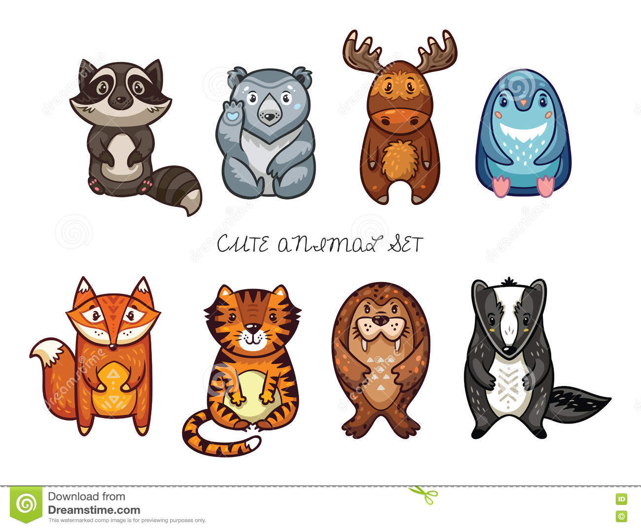 Cute Animal Set With Cartoon Characters Stock Vector