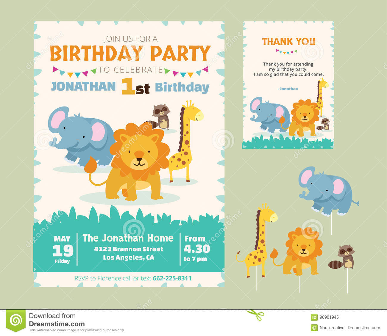 cute animal theme birthday party invitation stock vector