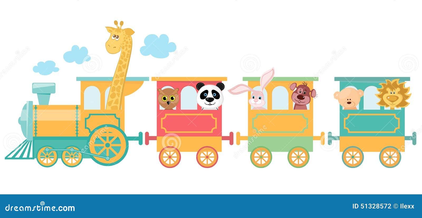 Cute Animal On Train Stock Illustration Illustration Of