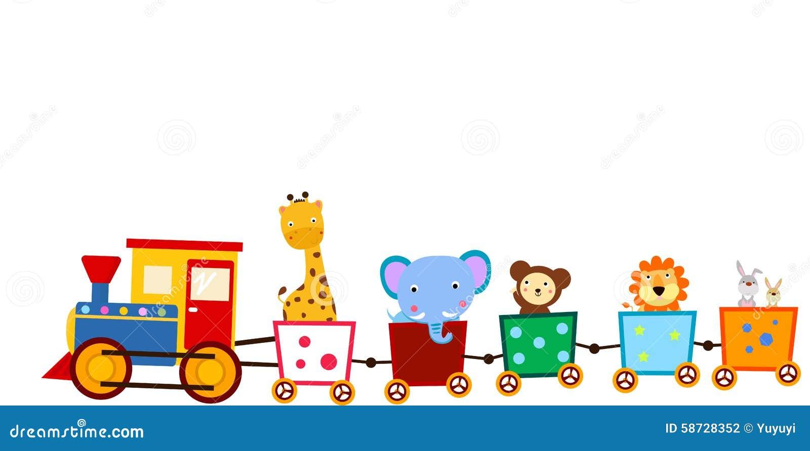 Cute animal on train stock vector. Illustration of ...