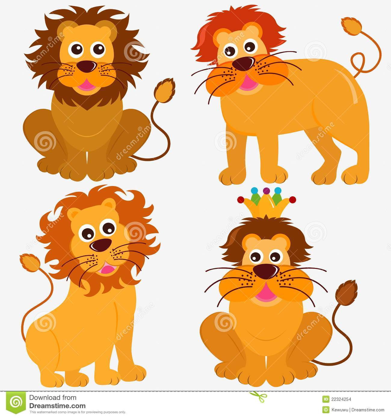 Cute Animal Vector Icons : Lion