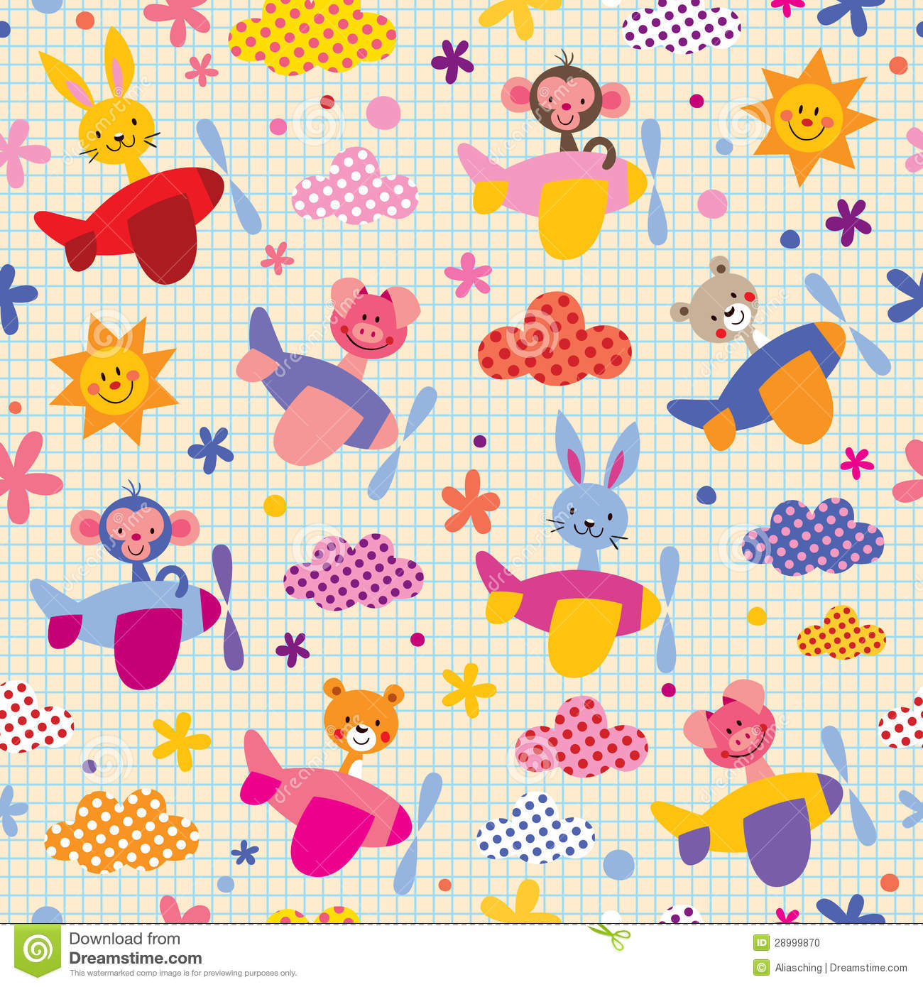 Cute animals in airplanes pattern