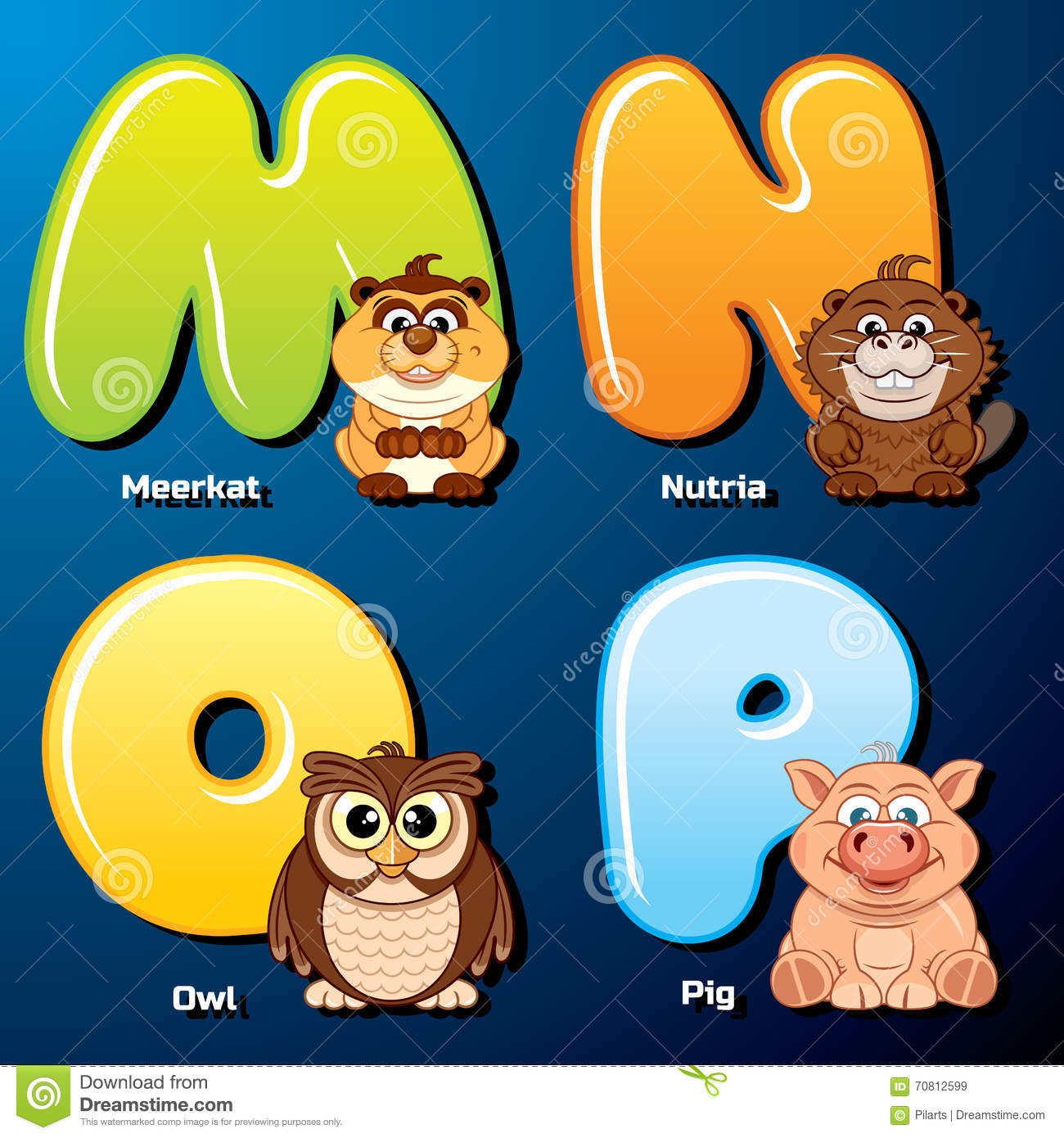 cute animals and birds in alphabetical order stock vector image cute animals and birds in alphabetical order