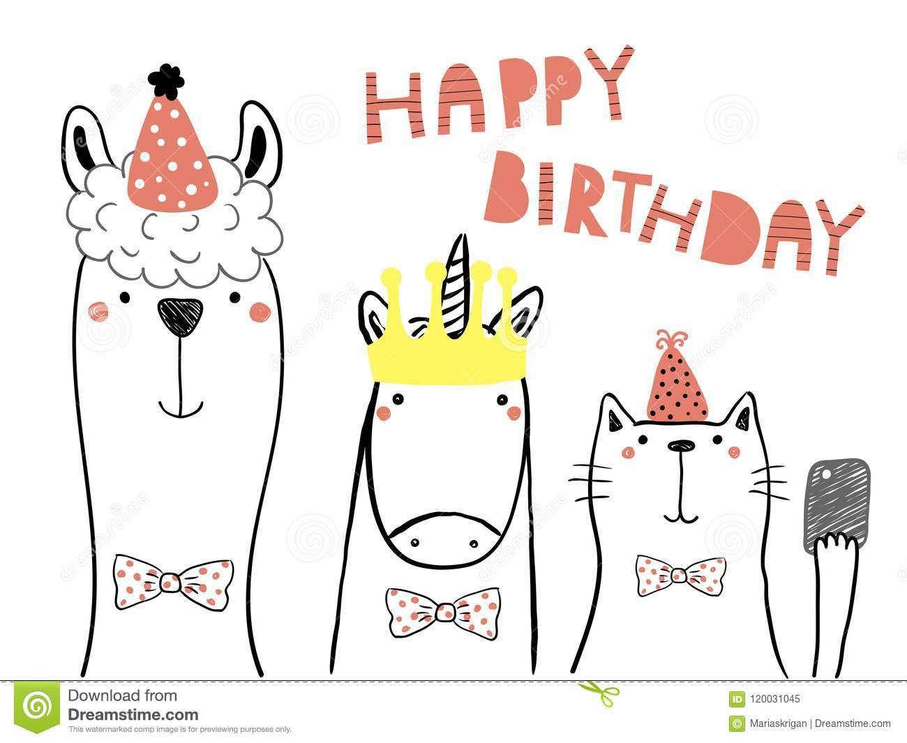 Hand Drawn Birthday Card With Cute Funny Llama Unicorn Cat In Party Hats Taking Selfie A Smart Phonequote Isolated Objects Line Drawing