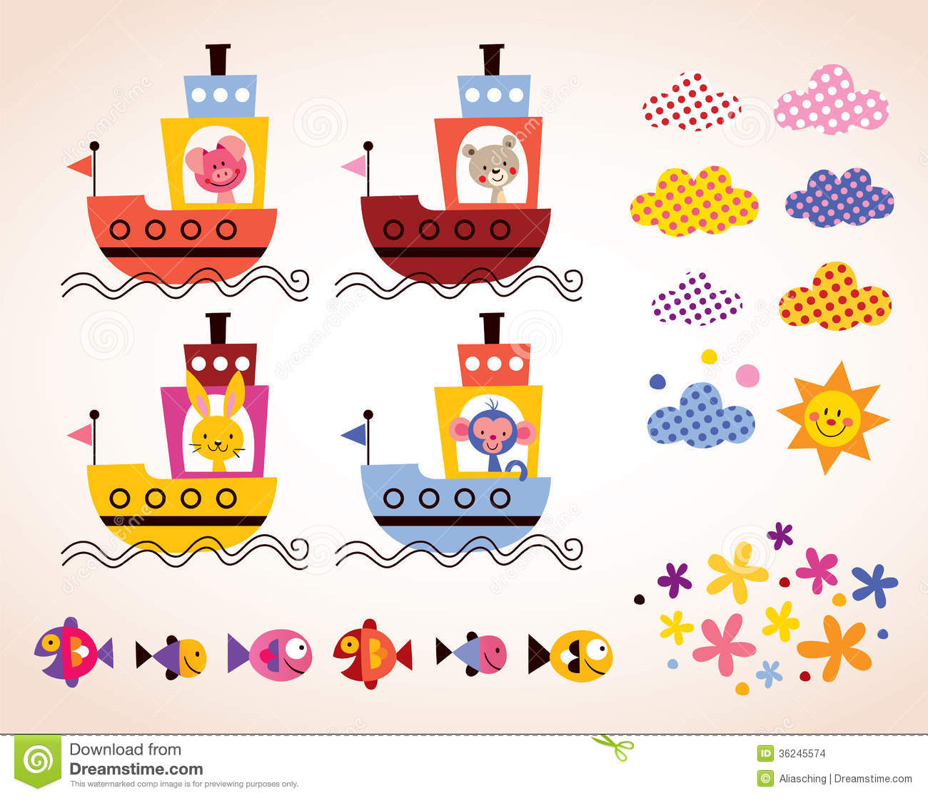 Cute Animals In Boats Kids Design Elements Set Stock