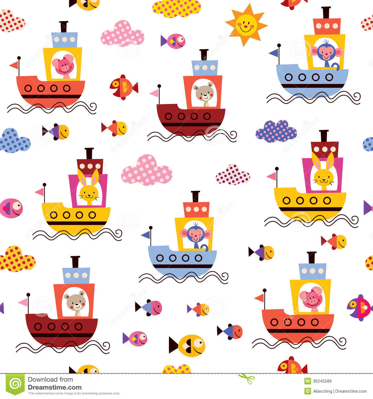 Cute Animals In Boats Kids Sea Pattern Royalty Free Stock
