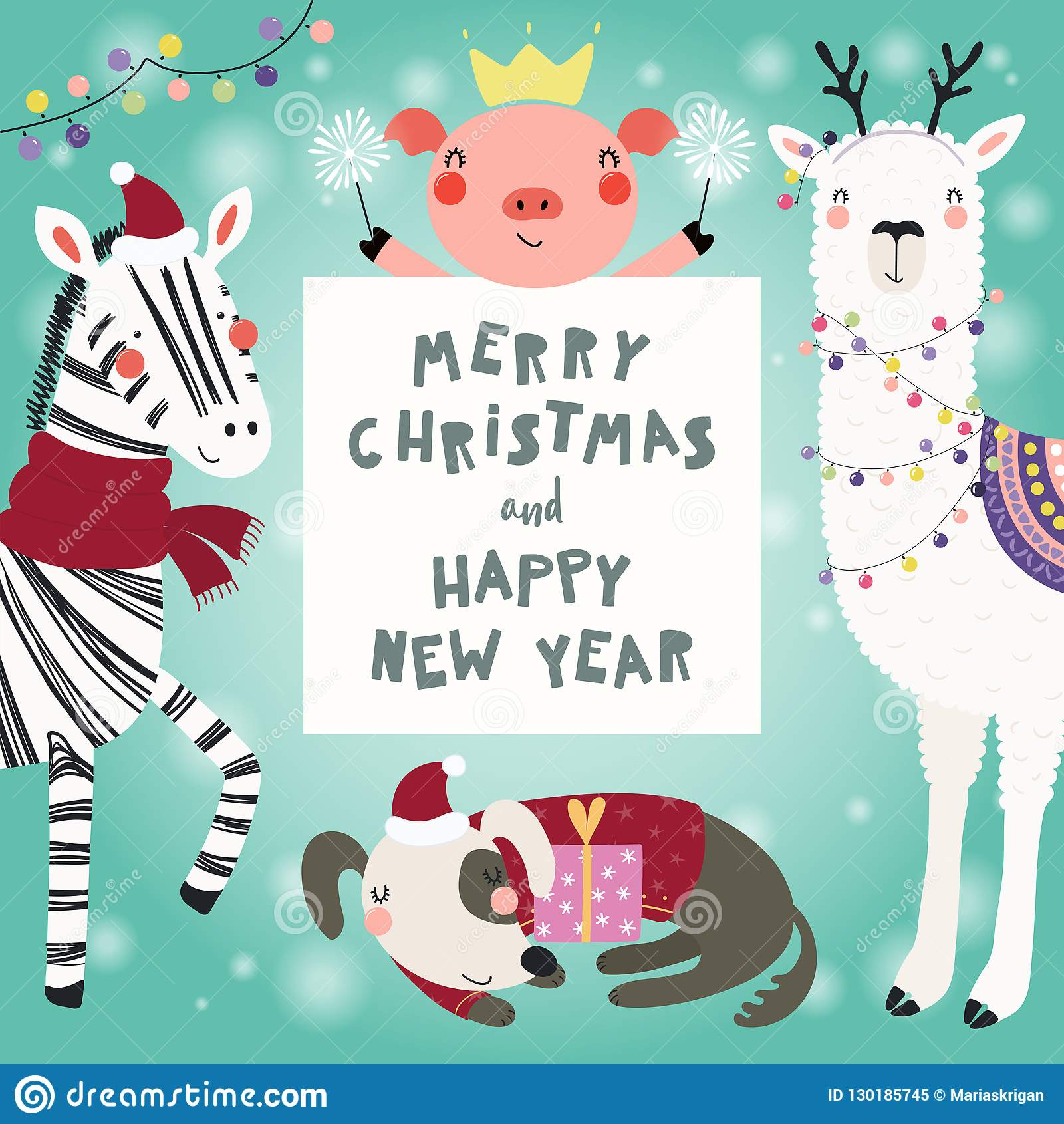 Cute Animals Christmas Set Stock Vector Illustration Of 2019