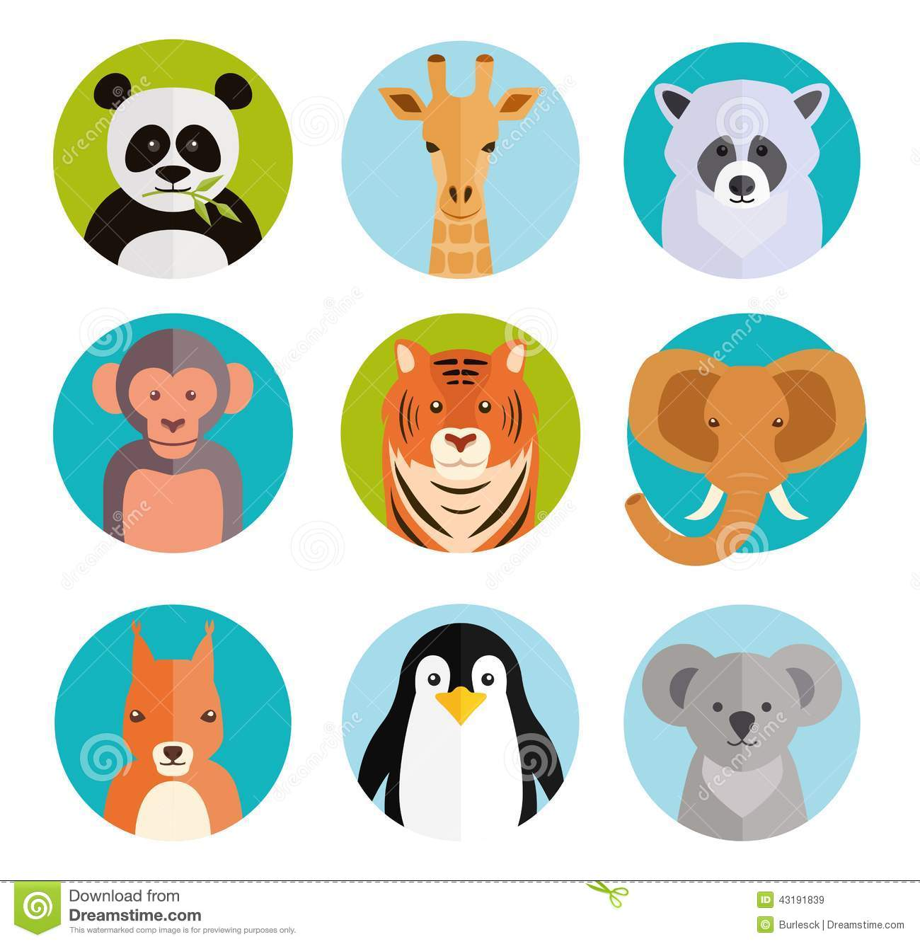 cute animals in colored round badges stock vector image cute giraffe clipart Cute Monkey Clip Art
