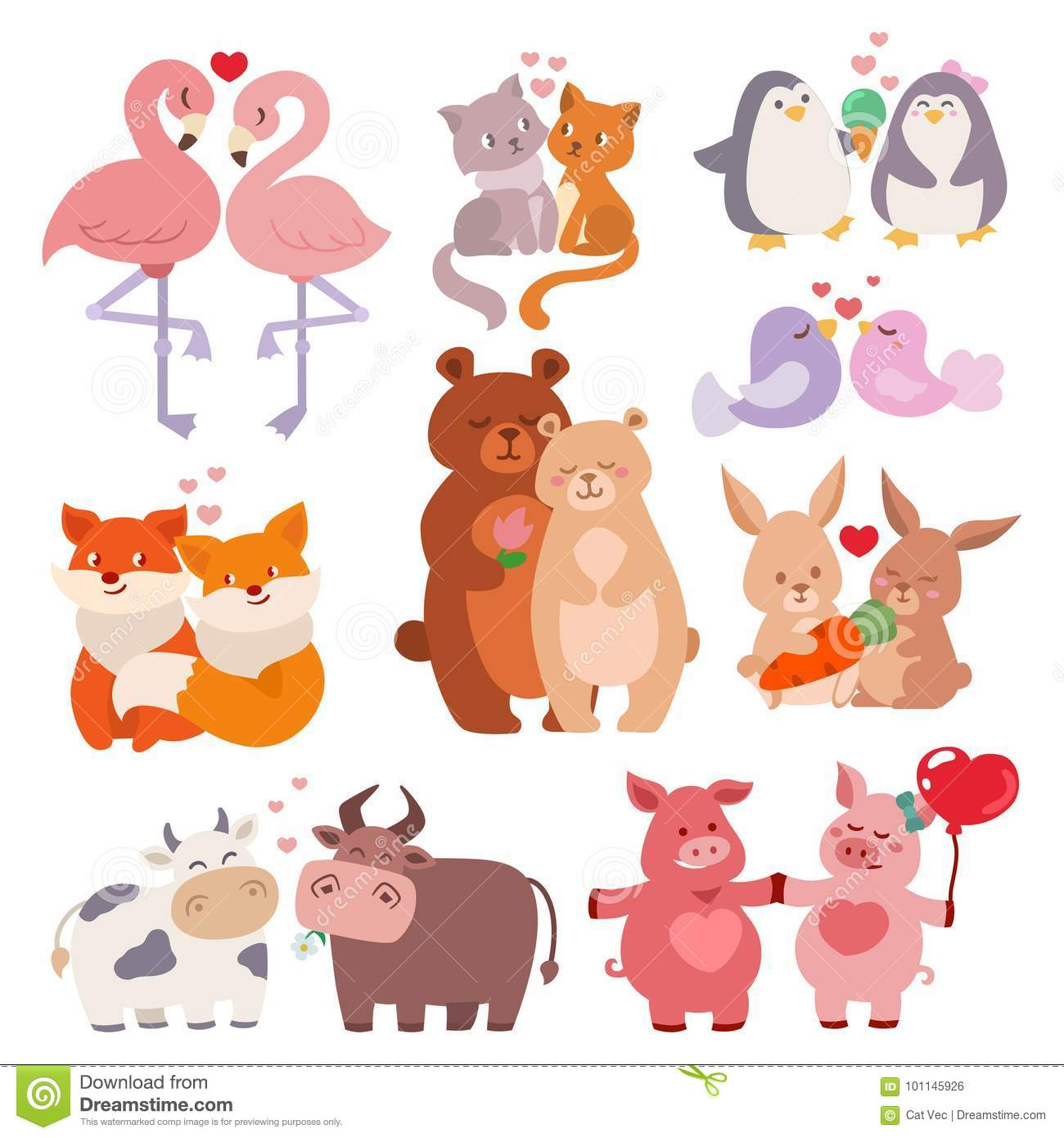 Cute Animals Couples In Love Collection Happy Valentines Day Loving