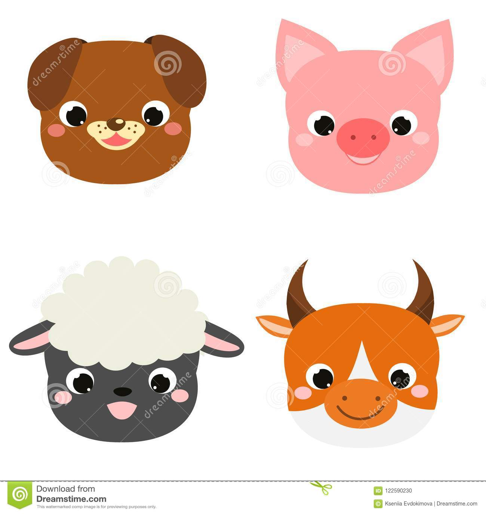 Cute animals faces. Cartoon kawaii farm pets icons