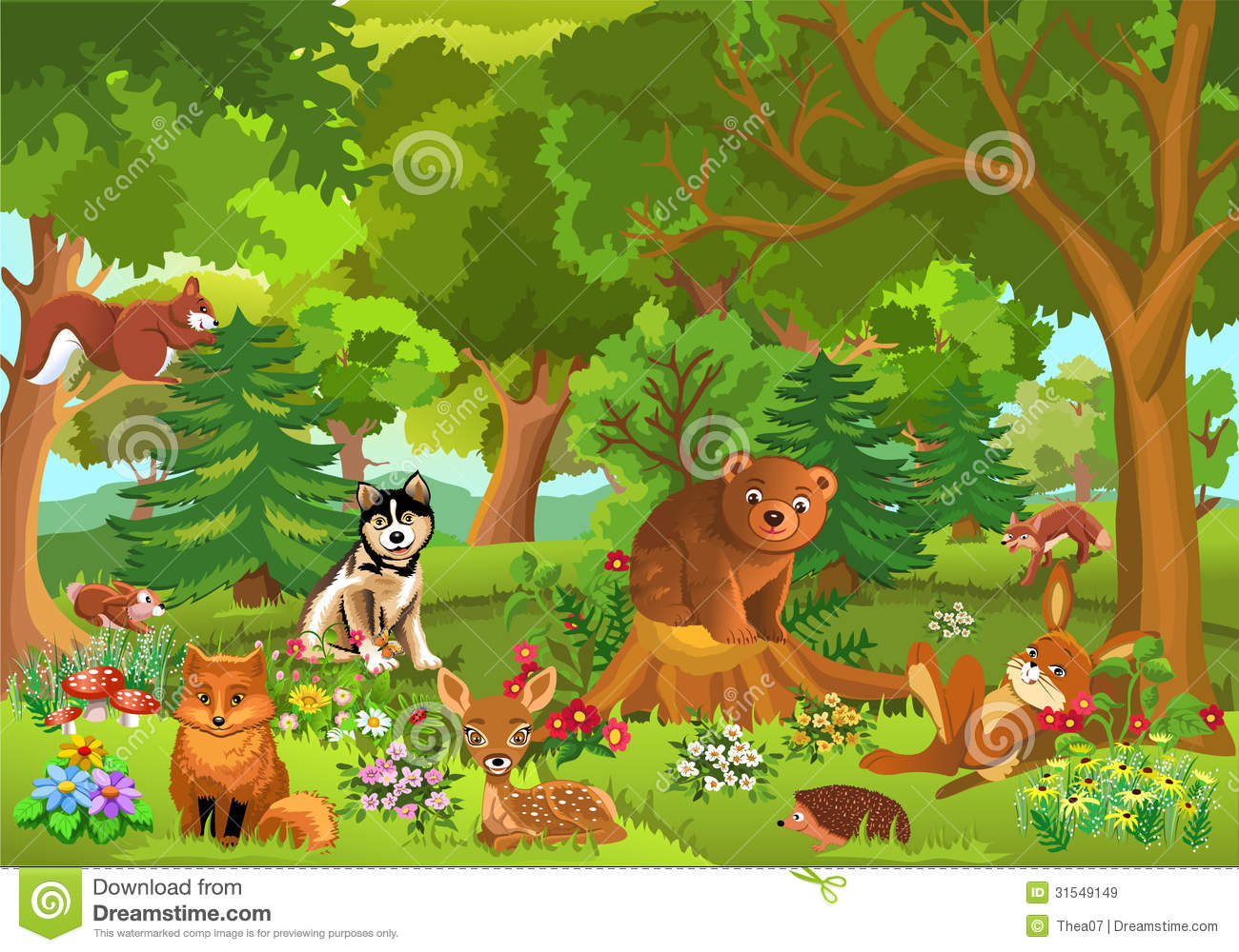 Cute Animals In The Forest Royalty Free Stock Images - Image: 31549149