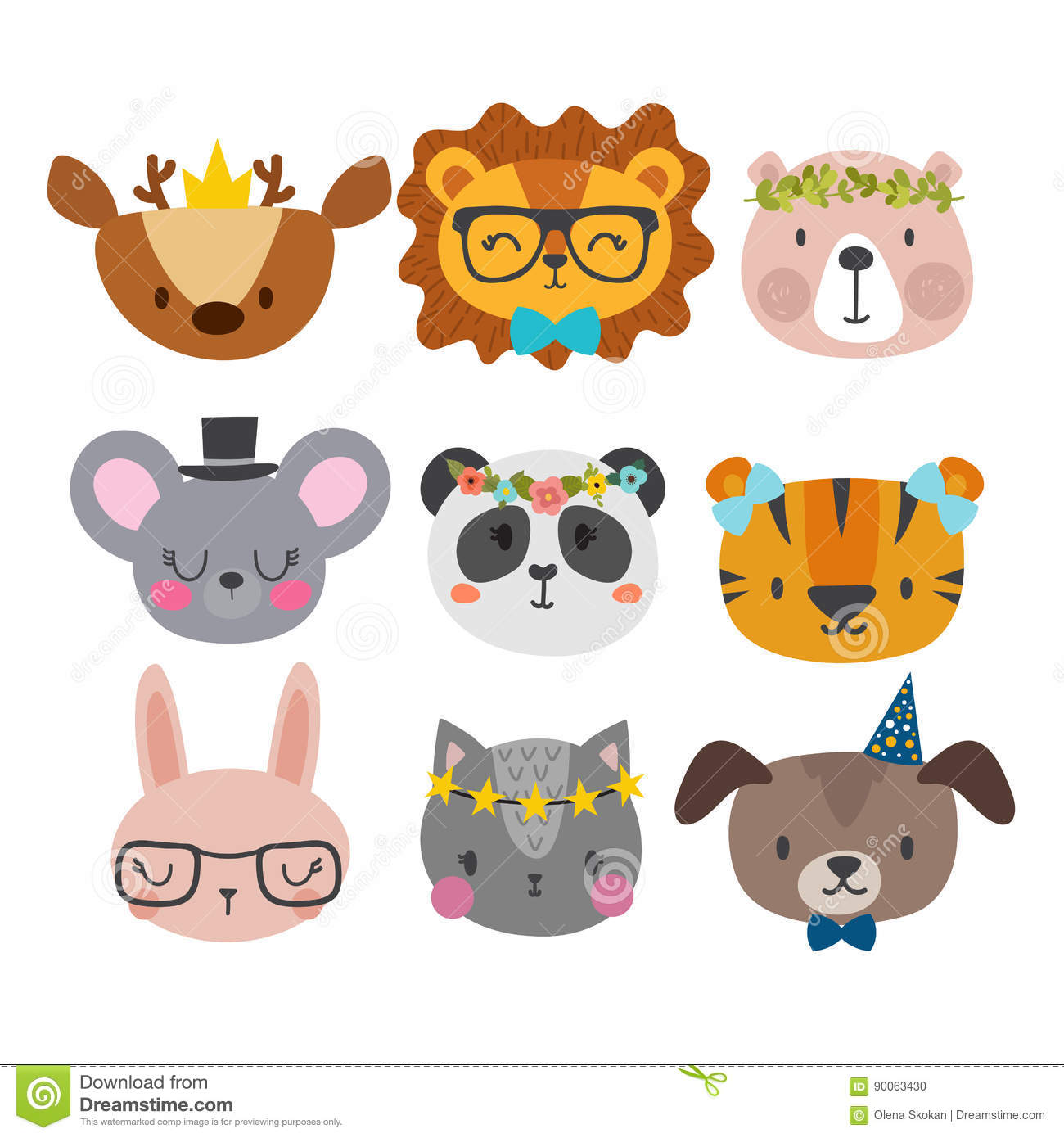 Cute Animals With Funny Accessories  Cat, Lion, Panda, Dog