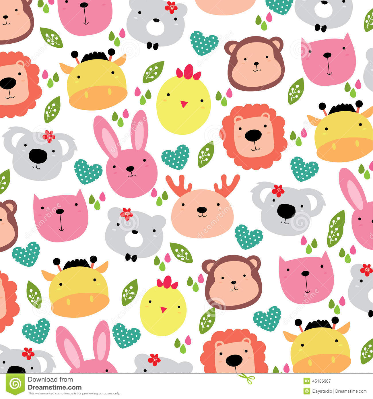 Cute Animals Head Background Design Stock Vector ...