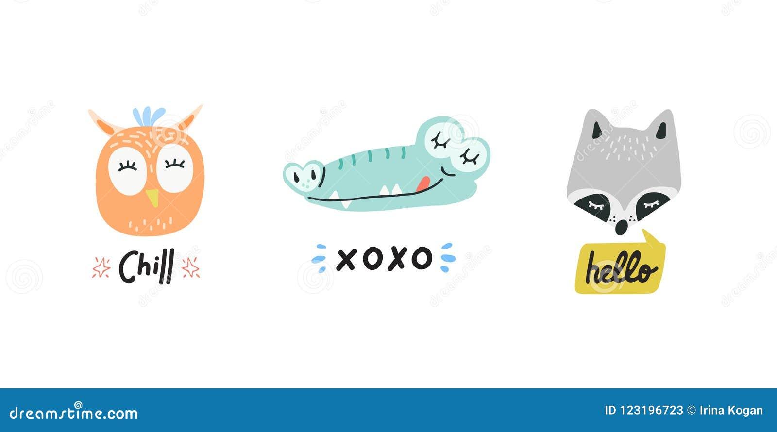 Cute Animals Heads Vector Illustrations Stock Vector - Illustration