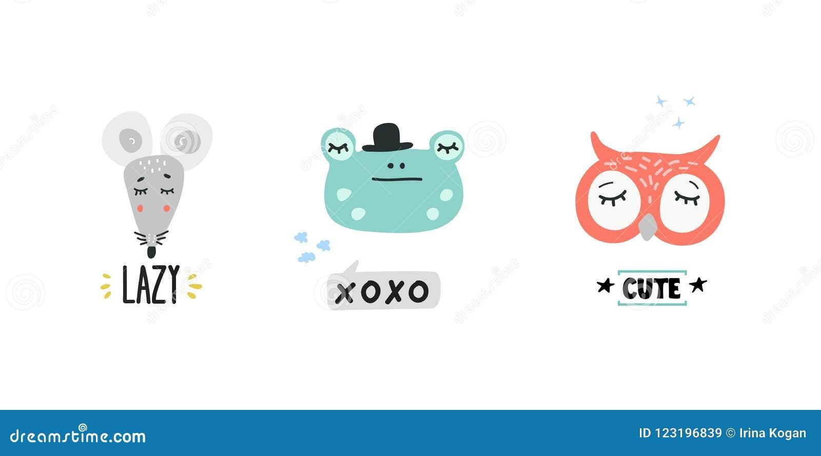 Cute Animals Heads Vector Illustrations Stock Vector