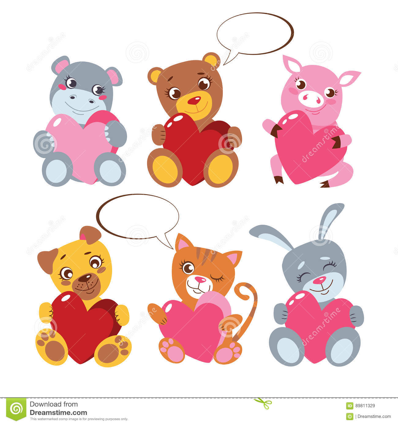 Catnip Toys For Valentine S Day : Cute animals with heard collection on white toy presents