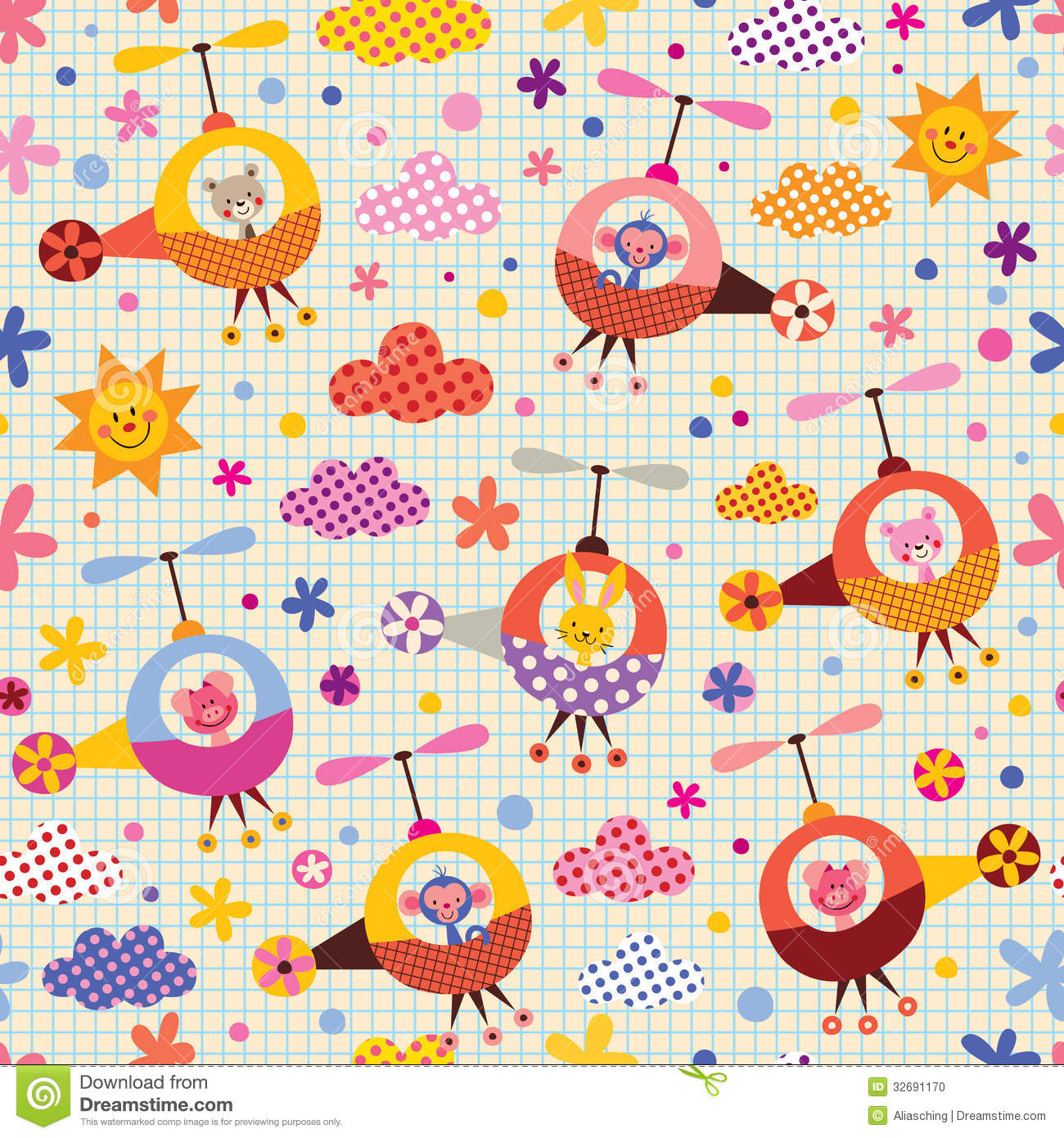 Cute Scrapbook Paper Patterns Cute animals in helicopters