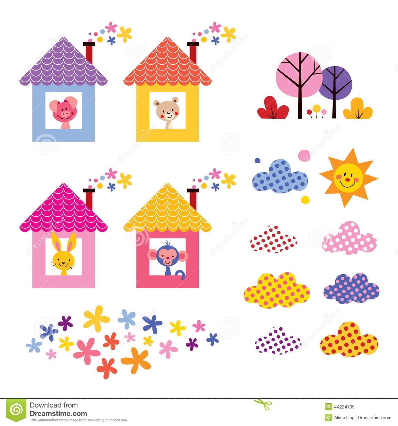 Cute Animals In Houses Kids Design Elements Set Stock